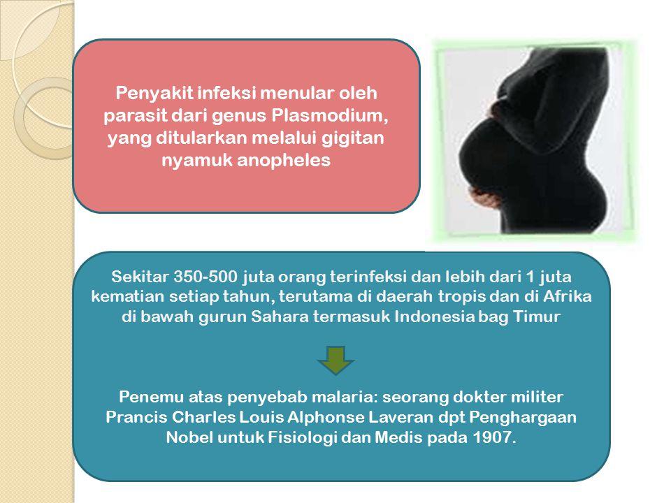 PENGARUH MALARIA PADA MASA NIFAS Untuk mencegah timbulnya penyakit dalam masa nifas, maka pemberian obat pencegahan dalam kehamilan sebaiknya diteruskan setelah persalinan Laktasi biasanya tidak dipengaruhi oleh malaria, kecuali kalau ibu sangat parah penderitaannya dan disertai anemia berat Pemberian obat pencegahan dalam kehamilan sebaiknya diteruskan setelah persalinan sampai 6 minggu postparthum Untuk mencegah timbulnya penyakit dalam masa nifas, maka pemberian obat pencegahan dalam kehamilan sebaiknya diteruskan setelah persalinan Laktasi biasanya tidak dipengaruhi oleh malaria, kecuali kalau ibu sangat parah penderitaannya dan disertai anemia berat Pemberian obat pencegahan dalam kehamilan sebaiknya diteruskan setelah persalinan sampai 6 minggu postparthum