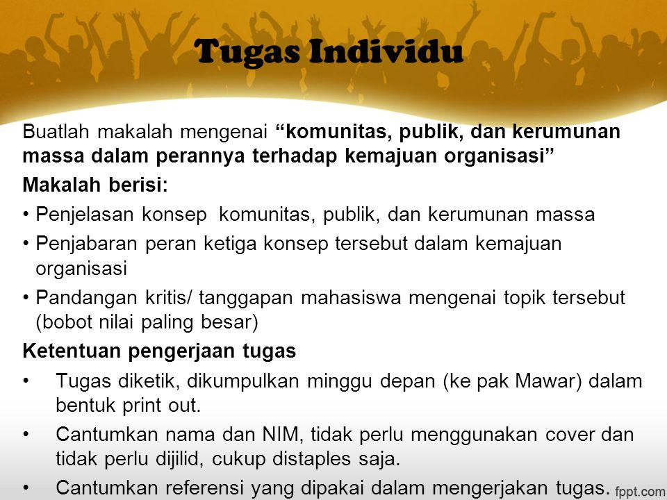 """Tugas Individu Buatlah makalah mengenai """"komunitas, publik, dan kerumunan massa dalam perannya terhadap kemajuan organisasi"""" Makalah berisi: Penjelasa"""