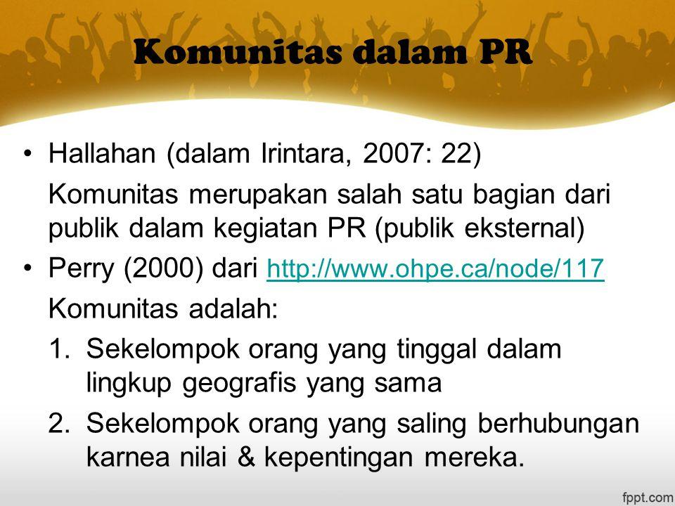 Komunitas dalam PR Hallahan (dalam Irintara, 2007: 22) Komunitas merupakan salah satu bagian dari publik dalam kegiatan PR (publik eksternal) Perry (2