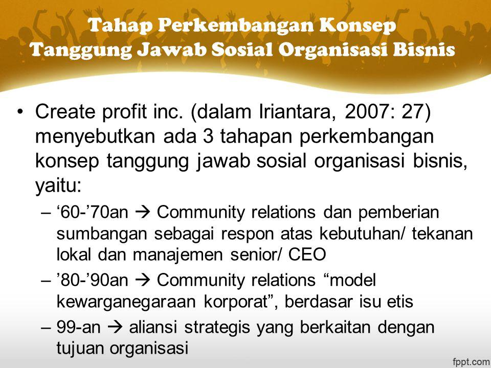 Tahap Perkembangan Konsep Tanggung Jawab Sosial Organisasi Bisnis Create profit inc. (dalam Iriantara, 2007: 27) menyebutkan ada 3 tahapan perkembanga