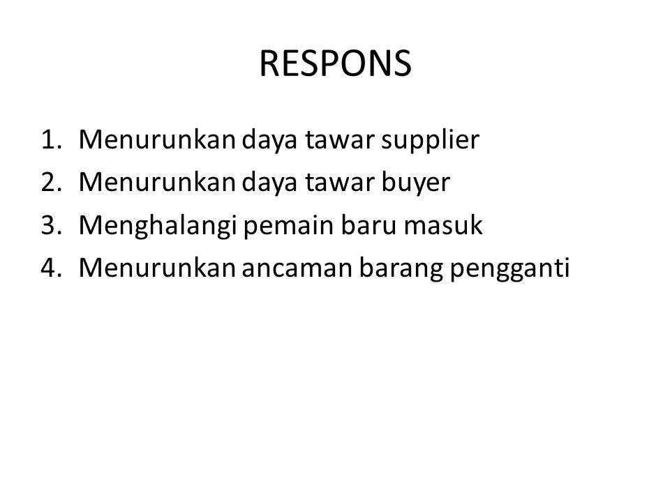 RESPONS 1.Menurunkan daya tawar supplier 2.Menurunkan daya tawar buyer 3.Menghalangi pemain baru masuk 4.Menurunkan ancaman barang pengganti