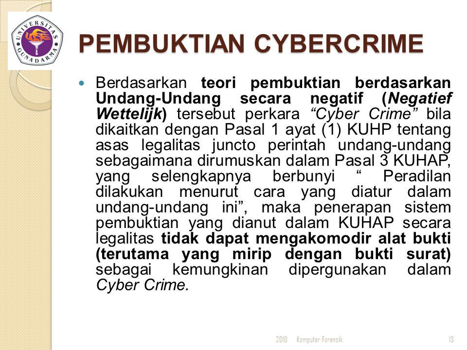 """PEMBUKTIAN CYBERCRIME Berdasarkan teori pembuktian berdasarkan Undang-Undang secara negatif (Negatief Wettelijk) tersebut perkara """"Cyber Crime"""" bila d"""
