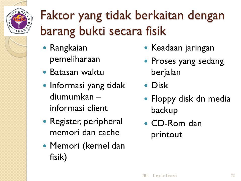 Faktor yang tidak berkaitan dengan barang bukti secara fisik Rangkaian pemeliharaan Batasan waktu Informasi yang tidak diumumkan – informasi client Re