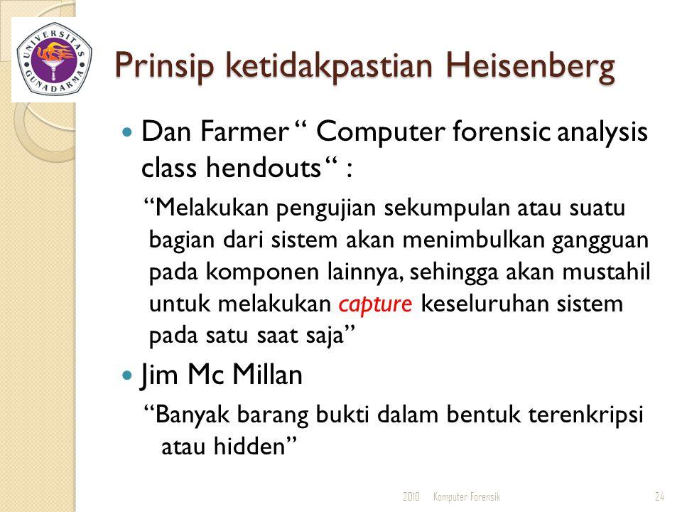 "Prinsip ketidakpastian Heisenberg Dan Farmer "" Computer forensic analysis class hendouts "" : ""Melakukan pengujian sekumpulan atau suatu bagian dari si"