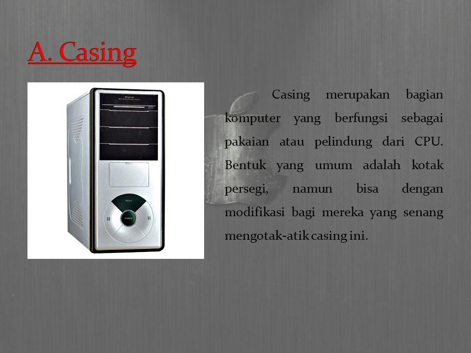 Casing merupakan bagian komputer yang berfungsi sebagai pakaian atau pelindung dari CPU.