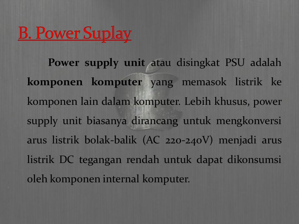Power supply unit atau disingkat PSU adalah komponen komputer yang memasok listrik ke komponen lain dalam komputer.