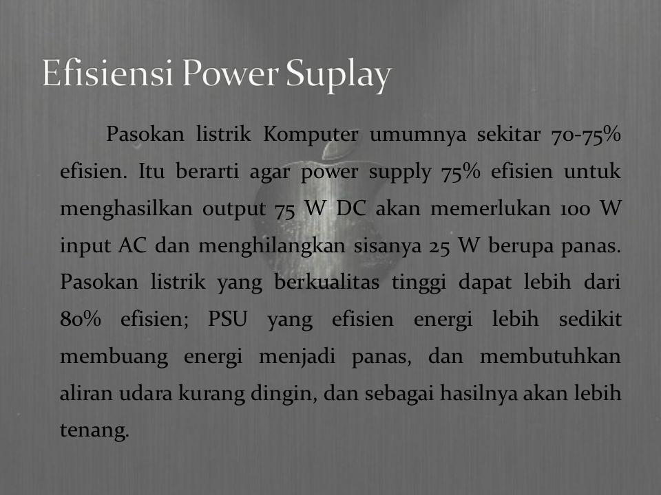 Pasokan listrik Komputer umumnya sekitar 70-75% efisien.