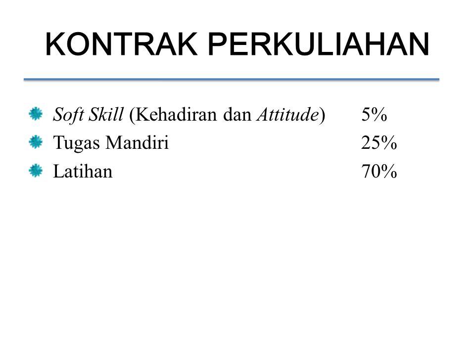 KONTRAK PERKULIAHAN Soft Skill (Kehadiran dan Attitude)5% Tugas Mandiri25% Latihan70%