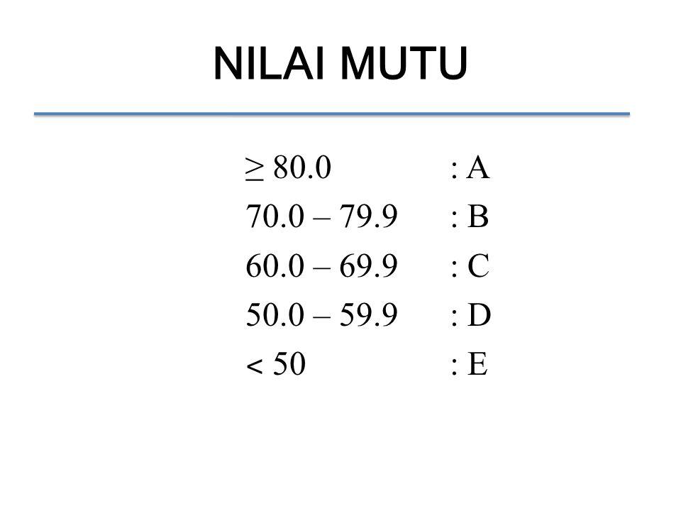 NILAI MUTU ≥ 80.0: A 70.0 – 79.9: B 60.0 – 69.9: C 50.0 – 59.9: D ˂ 50: E