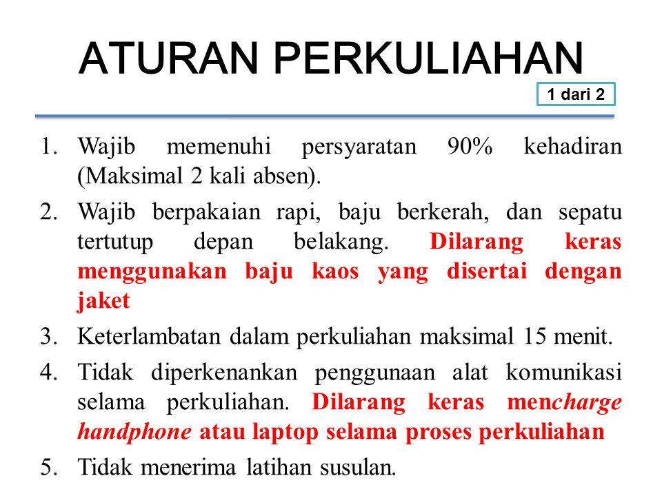 ATURAN PERKULIAHAN 1.Wajib memenuhi persyaratan 90% kehadiran (Maksimal 2 kali absen).