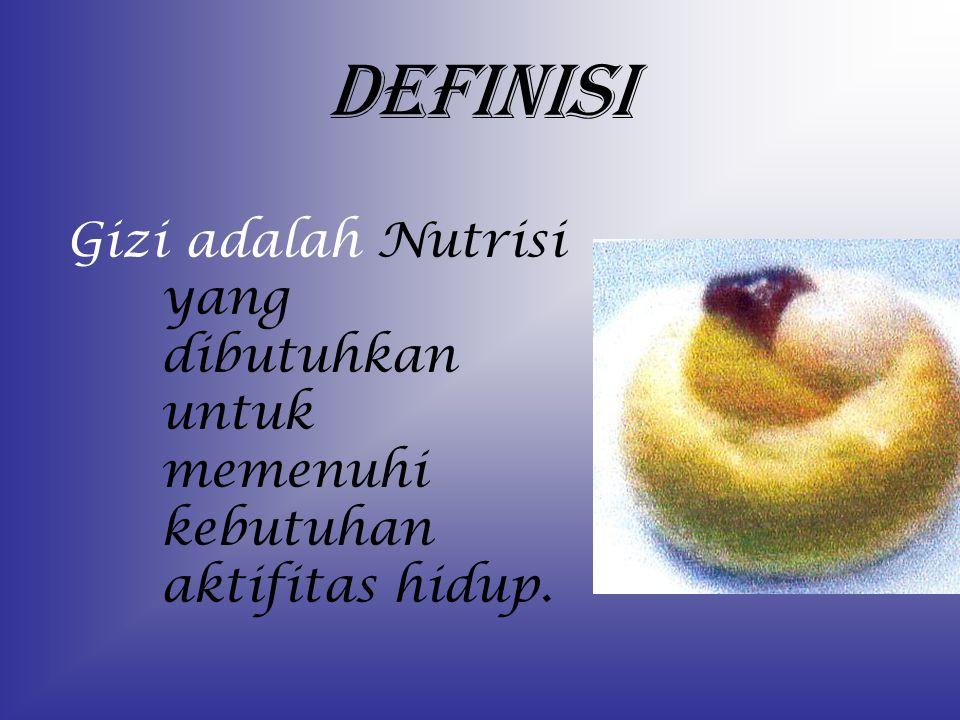 DEFINISI Gizi adalah Nutrisi yang dibutuhkan untuk memenuhi kebutuhan aktifitas hidup.