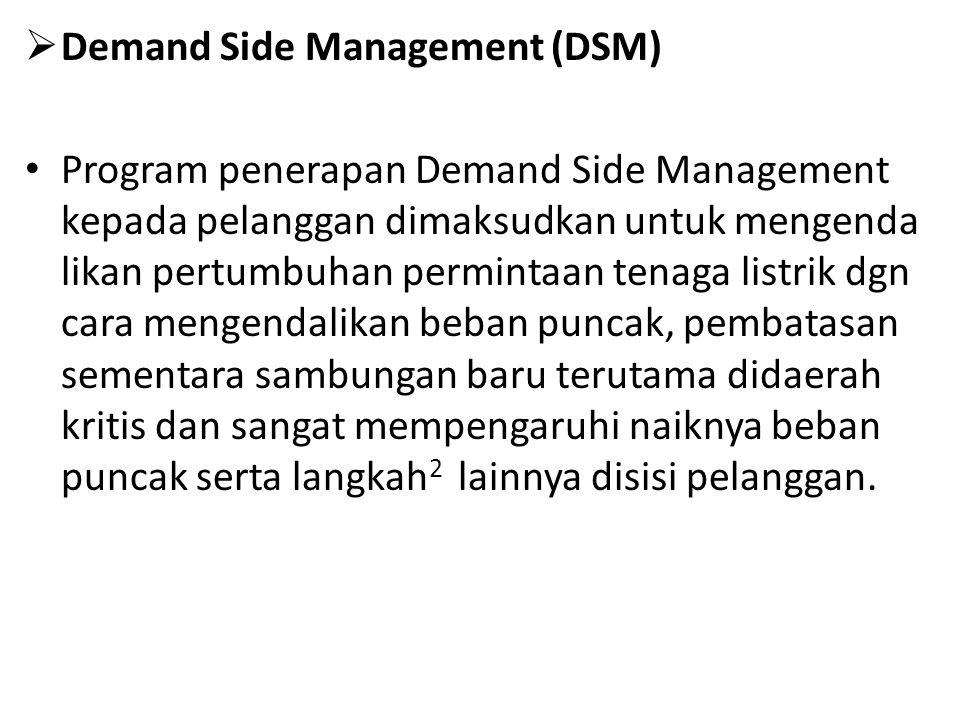  Demand Side Management (DSM) Program penerapan Demand Side Management kepada pelanggan dimaksudkan untuk mengenda likan pertumbuhan permintaan tenaga listrik dgn cara mengendalikan beban puncak, pembatasan sementara sambungan baru terutama didaerah kritis dan sangat mempengaruhi naiknya beban puncak serta langkah 2 lainnya disisi pelanggan.
