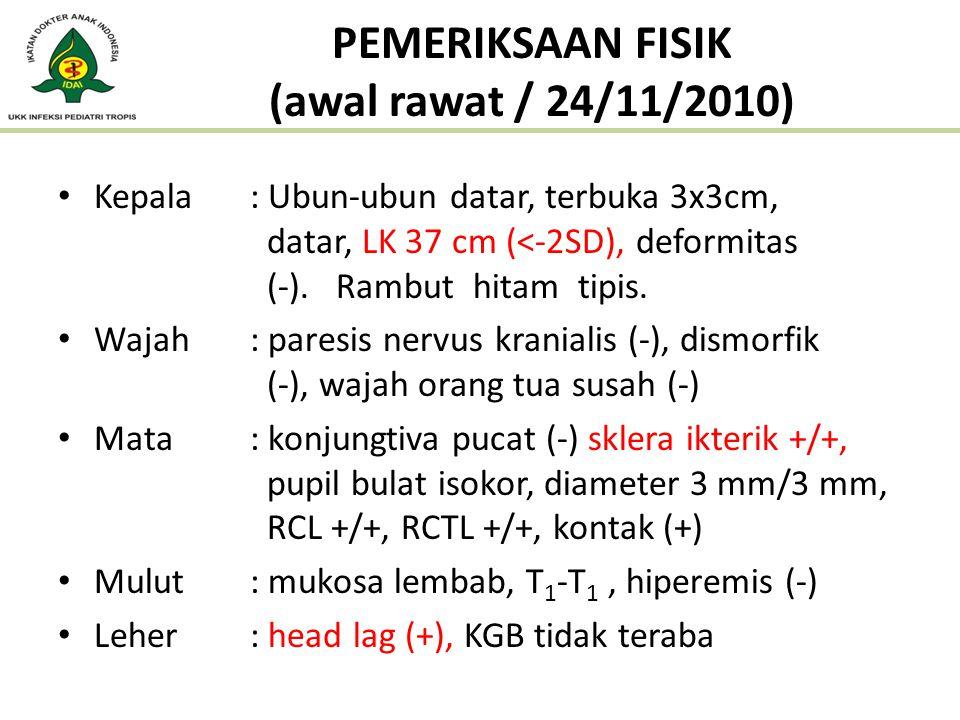 PEMERIKSAAN FISIK (awal rawat / 24/11/2010) Kepala : Ubun-ubun datar, terbuka 3x3cm, datar, LK 37 cm (<-2SD), deformitas (-). Rambut hitam tipis. Waja