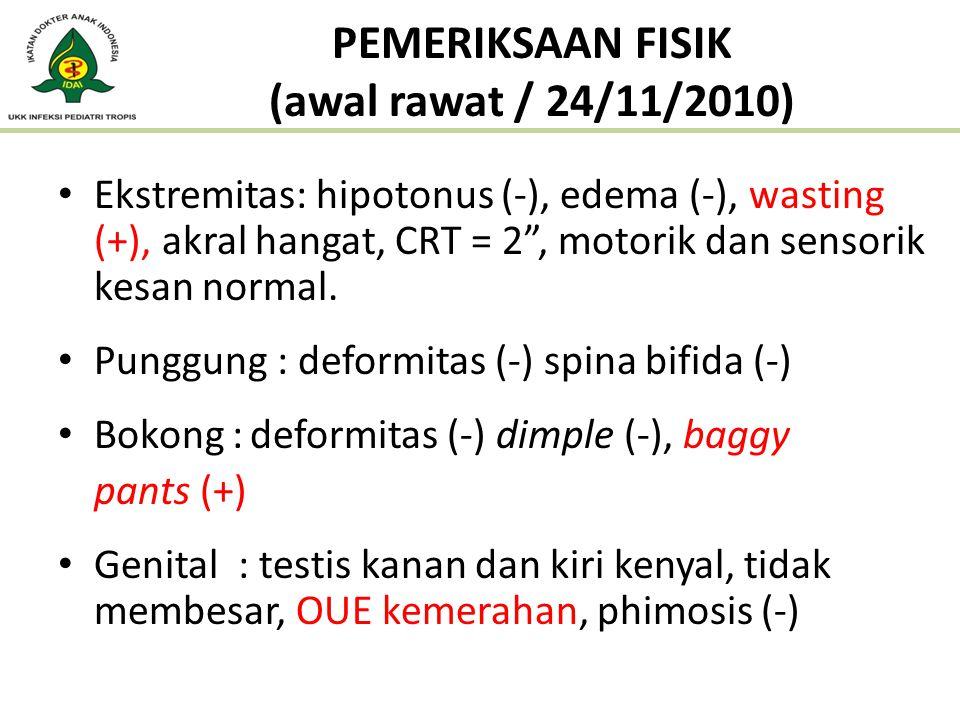 """Ekstremitas: hipotonus (-), edema (-), wasting (+), akral hangat, CRT = 2"""", motorik dan sensorik kesan normal. Punggung : deformitas (-) spina bifida"""