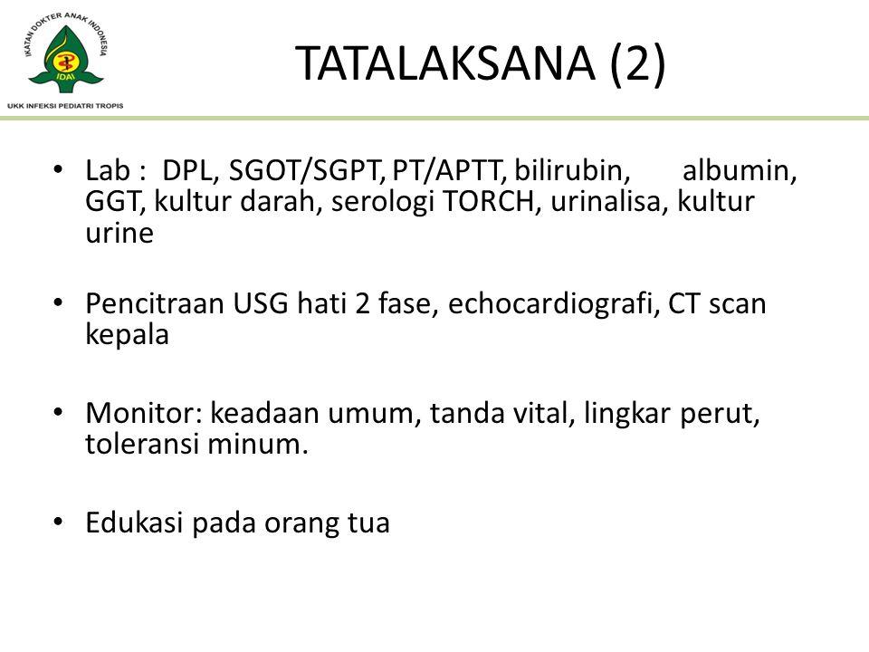 TATALAKSANA (2) Lab : DPL, SGOT/SGPT, PT/APTT, bilirubin, albumin, GGT, kultur darah, serologi TORCH, urinalisa, kultur urine Pencitraan USG hati 2 fa