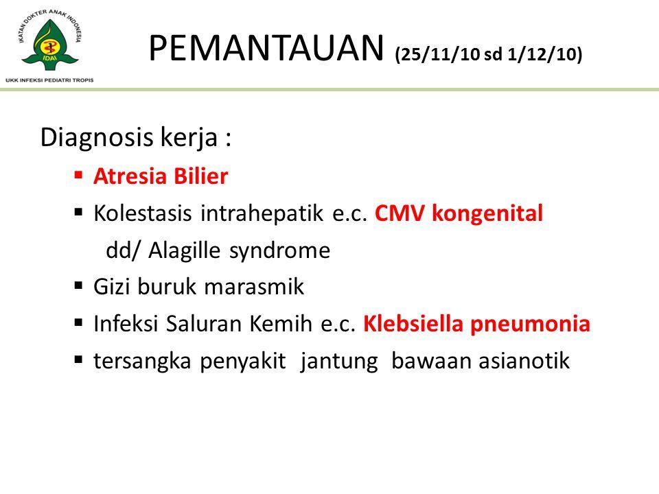 Diagnosis kerja :  Atresia Bilier  Kolestasis intrahepatik e.c. CMV kongenital dd/ Alagille syndrome  Gizi buruk marasmik  Infeksi Saluran Kemih e