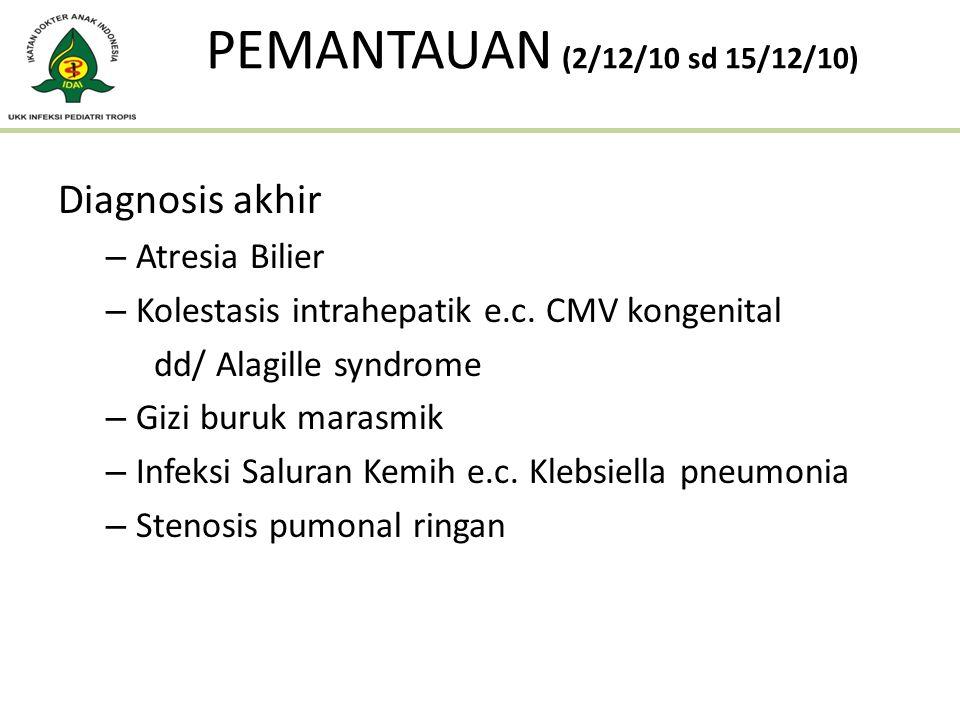 Diagnosis akhir – Atresia Bilier – Kolestasis intrahepatik e.c. CMV kongenital dd/ Alagille syndrome – Gizi buruk marasmik – Infeksi Saluran Kemih e.c