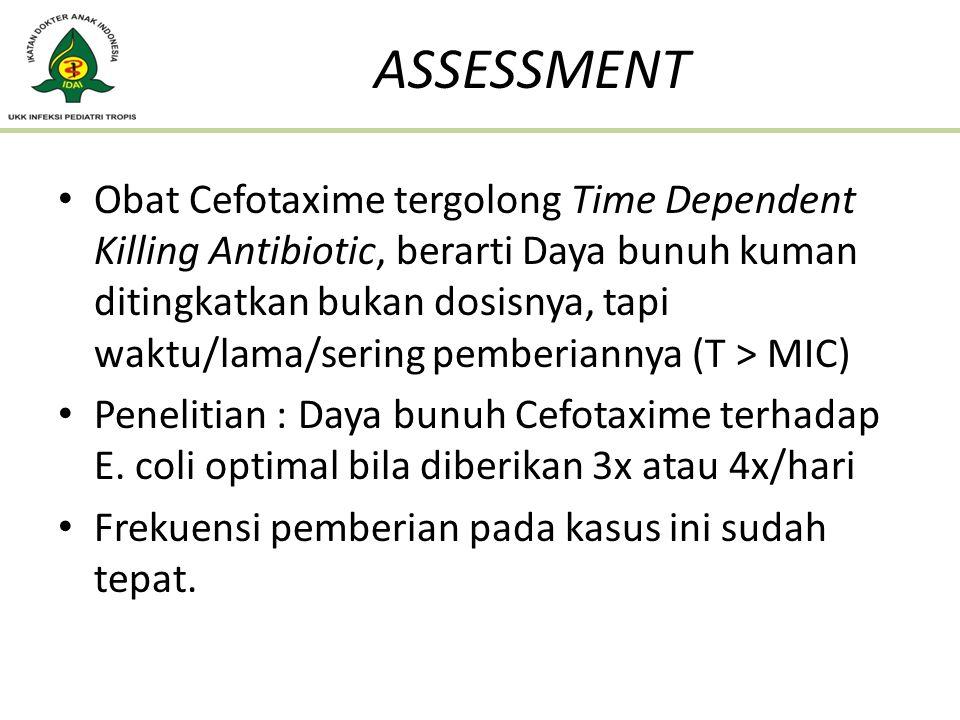 Obat Cefotaxime tergolong Time Dependent Killing Antibiotic, berarti Daya bunuh kuman ditingkatkan bukan dosisnya, tapi waktu/lama/sering pemberiannya
