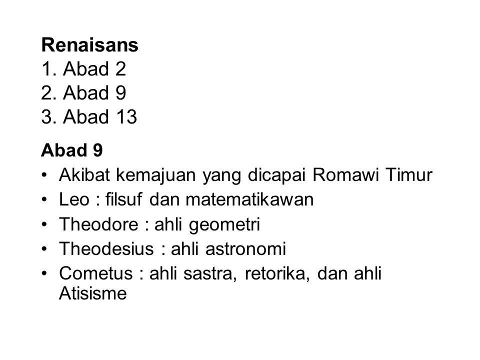 Renaisans 1. Abad 2 2. Abad 9 3. Abad 13 Abad 9 Akibat kemajuan yang dicapai Romawi Timur Leo : filsuf dan matematikawan Theodore : ahli geometri Theo