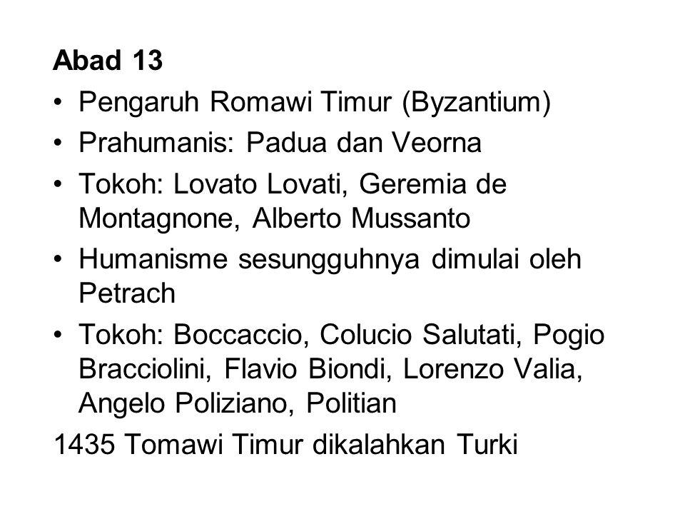 Abad 13 Pengaruh Romawi Timur (Byzantium) Prahumanis: Padua dan Veorna Tokoh: Lovato Lovati, Geremia de Montagnone, Alberto Mussanto Humanisme sesungg