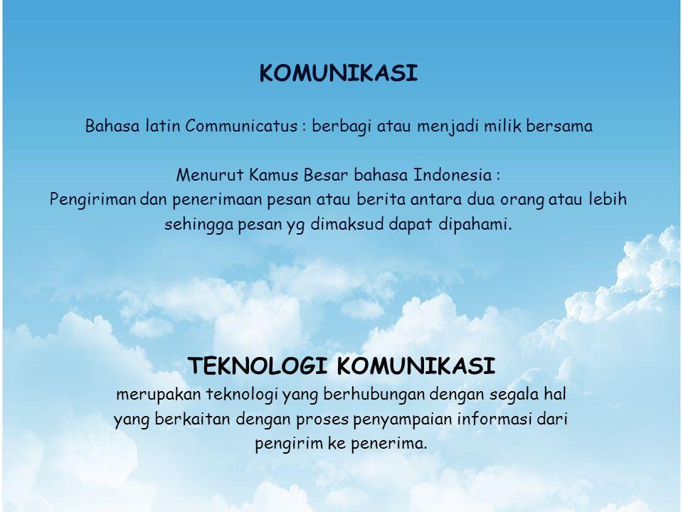KOMUNIKASI Bahasa latin Communicatus : berbagi atau menjadi milik bersama Menurut Kamus Besar bahasa Indonesia : Pengiriman dan penerimaan pesan atau