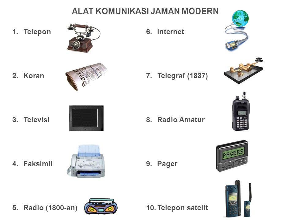 1.Telepon 2.Koran 3.Televisi 4.Faksimil 5.Radio (1800-an) 6.Internet 7.Telegraf (1837) 8.Radio Amatur 9.Pager 10.Telepon satelit ALAT KOMUNIKASI JAMAN