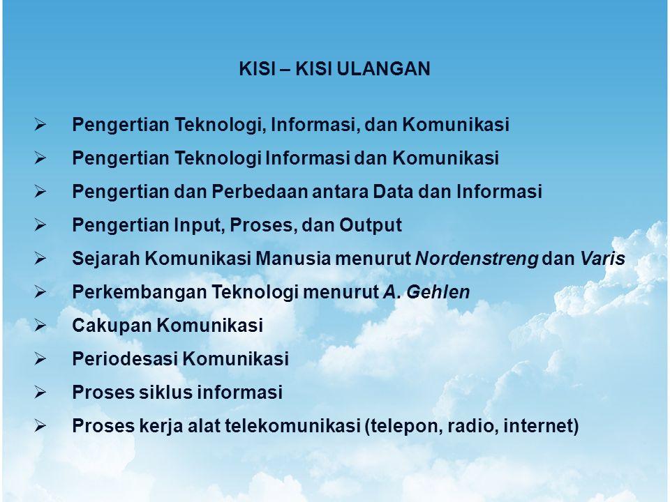 KISI – KISI ULANGAN  Pengertian Teknologi, Informasi, dan Komunikasi  Pengertian Teknologi Informasi dan Komunikasi  Pengertian dan Perbedaan antar