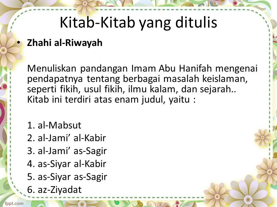 Al-Nawadir Kitab-kitab yang ditulis berdasarkan pandangannya sendiri.
