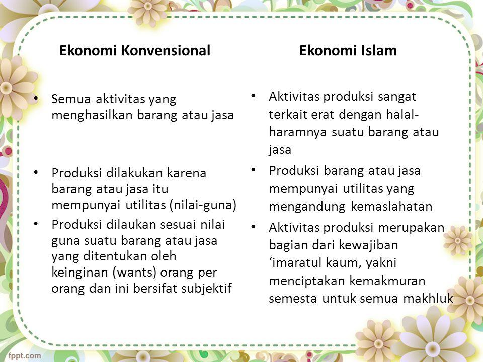 Ekonomi Islam Aktivitas produksi sangat terkait erat dengan halal- haramnya suatu barang atau jasa Produksi barang atau jasa mempunyai utilitas yang m