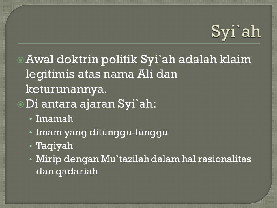 Syi`ah  Awal doktrin politik Syi`ah adalah klaim legitimis atas nama Ali dan keturunannya.