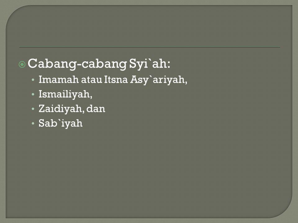  Cabang-cabang Syi`ah: Imamah atau Itsna Asy`ariyah, Ismailiyah, Zaidiyah, dan Sab`iyah