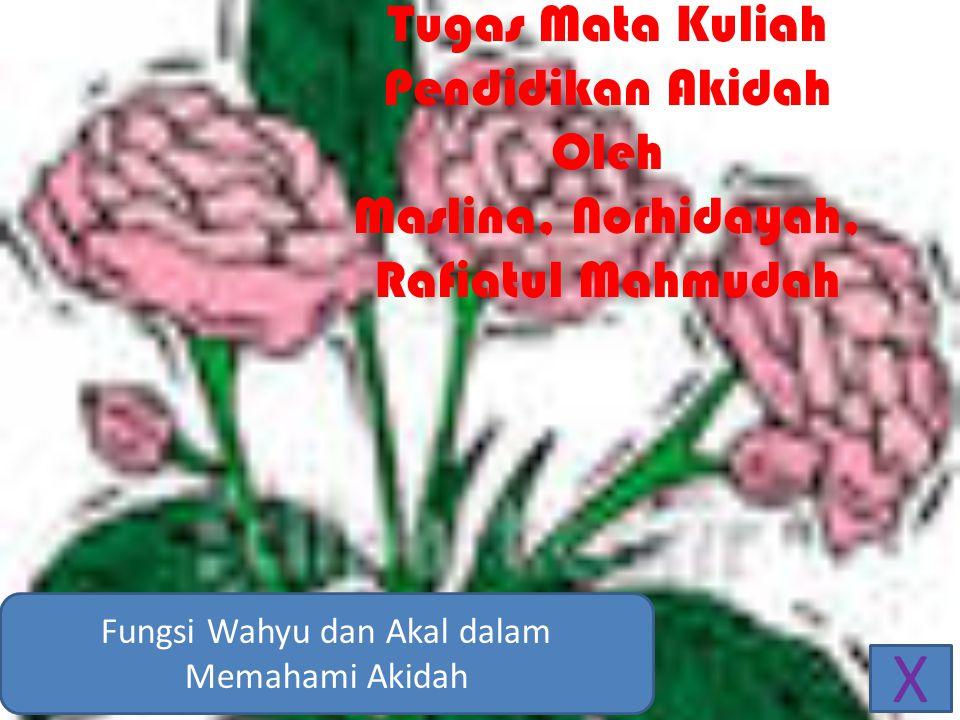 Tugas Mata Kuliah Pendidikan Akidah Oleh Maslina, Norhidayah, Rafiatul Mahmudah Fungsi Wahyu dan Akal dalam Memahami Akidah X