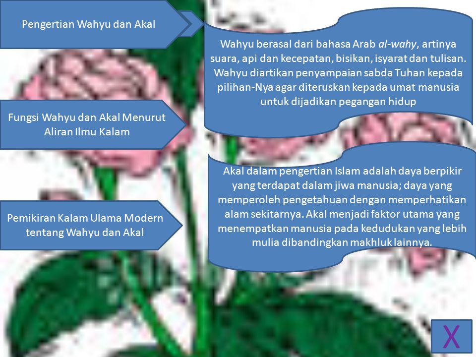 X Pengertian Wahyu dan Akal Fungsi Wahyu dan Akal Menurut Aliran Ilmu Kalam Pemikiran Kalam Ulama Modern tentang Wahyu dan Akal Wahyu berasal dari bahasa Arab al-wahy, artinya suara, api dan kecepatan, bisikan, isyarat dan tulisan.