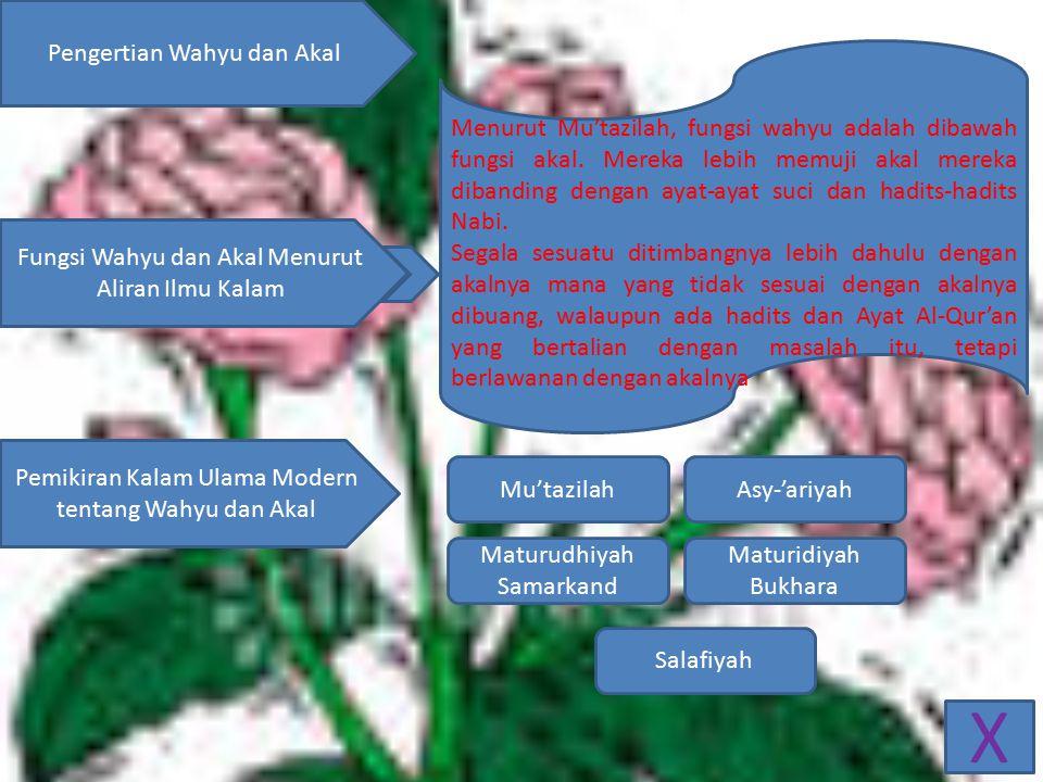 X Pengertian Wahyu dan Akal Fungsi Wahyu dan Akal Menurut Aliran Ilmu Kalam Pemikiran Kalam Ulama Modern tentang Wahyu dan Akal Menurut Mu'tazilah, fungsi wahyu adalah dibawah fungsi akal.