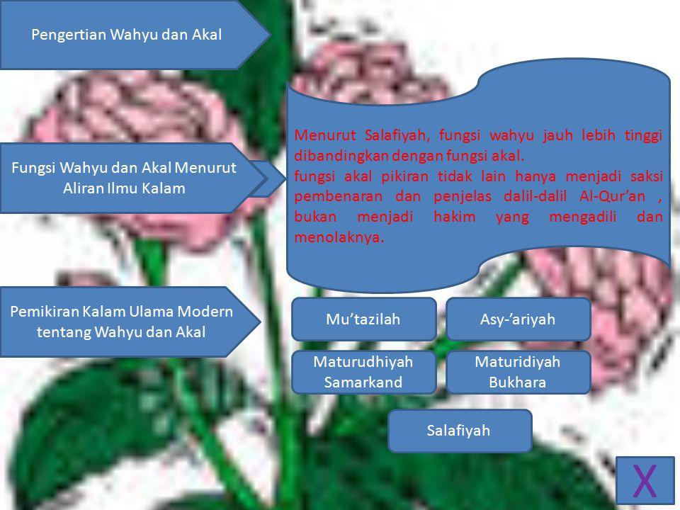 X Pengertian Wahyu dan Akal Fungsi Wahyu dan Akal Menurut Aliran Ilmu Kalam Pemikiran Kalam Ulama Modern tentang Wahyu dan Akal Menurut Salafiyah, fungsi wahyu jauh lebih tinggi dibandingkan dengan fungsi akal.
