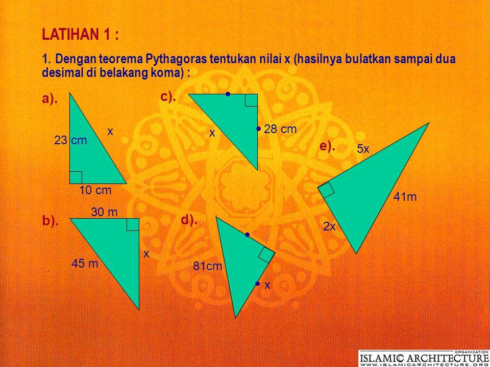 Contoh 5 : A B C D E 3 cm 8 cm Dalam gambar di samping, tan  DAE = 4 / 3 dan sin  CAB = 8 / 17, hitunglah : a) sin  DEA b) Panjang EB Jawab : a). t
