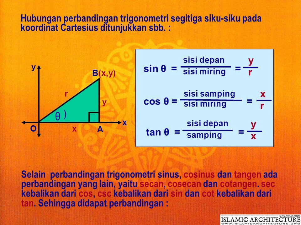 b. Perbandingan Trigonometri : A C B hipotenusa = sisi miring depan samping θ ) sin θ = = sisi depan sisi miring BC AB cos θ = = sisi samping sisi mir