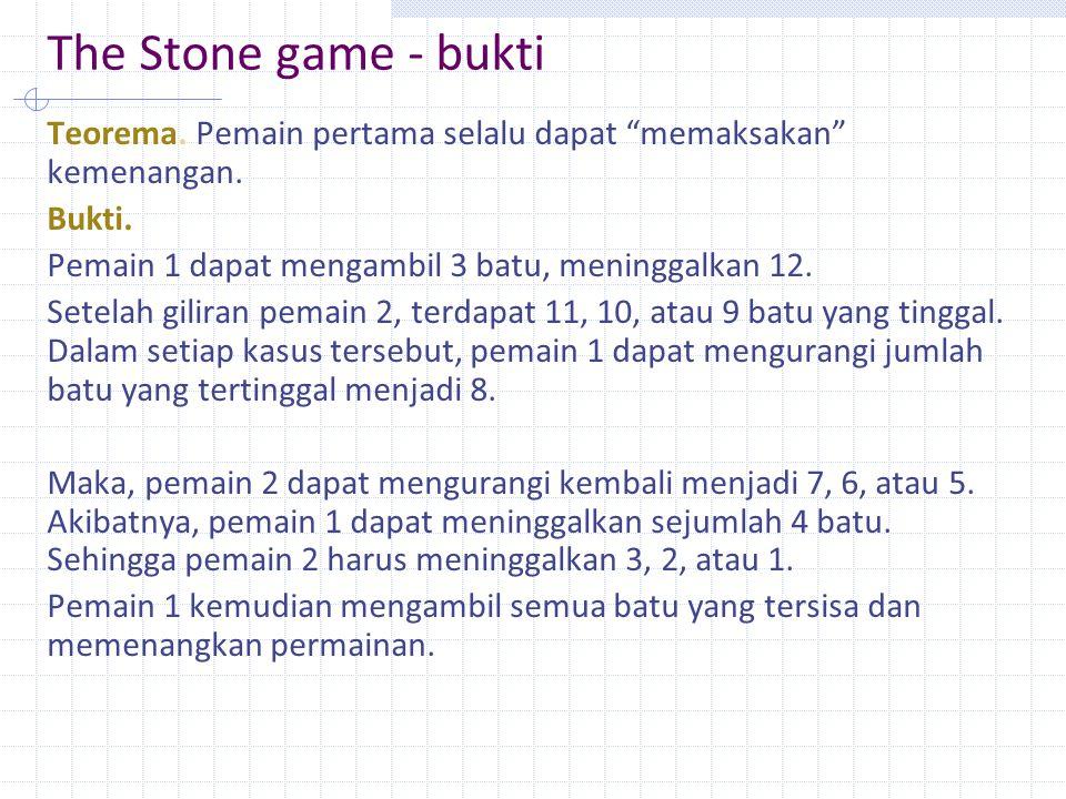The Stone game - bukti Teorema.Pemain pertama selalu dapat memaksakan kemenangan.