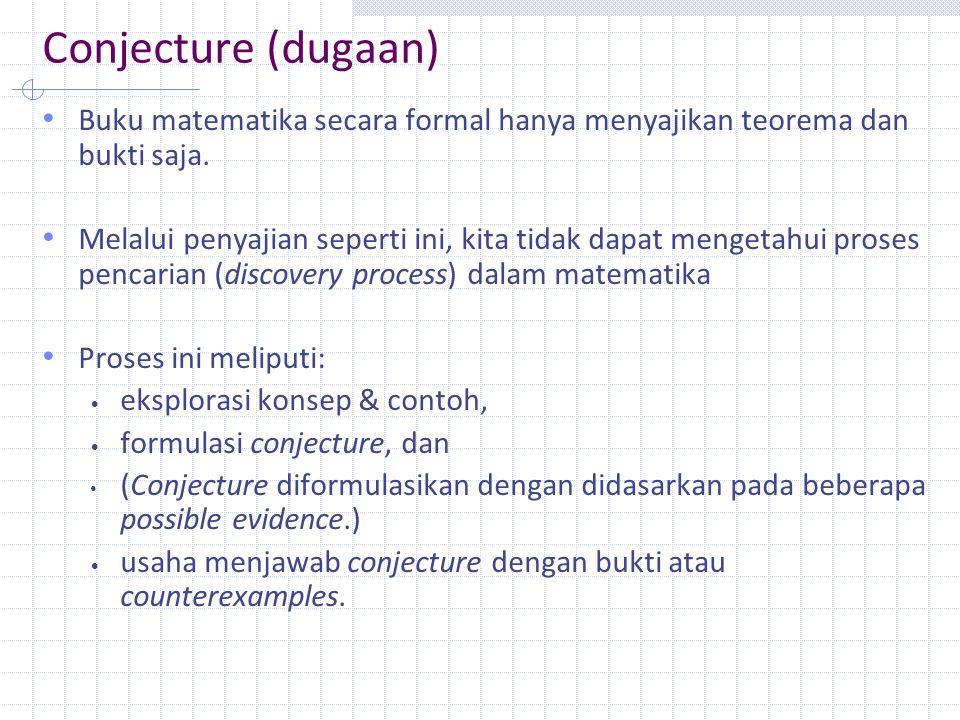 Conjecture (dugaan) Buku matematika secara formal hanya menyajikan teorema dan bukti saja.
