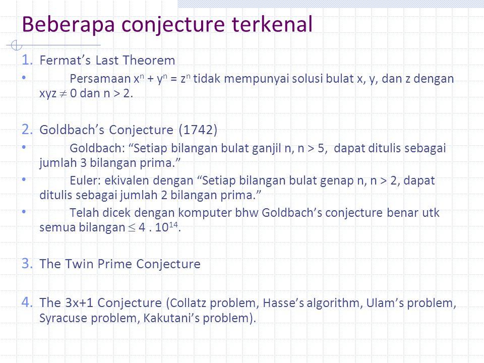 Beberapa conjecture terkenal 1.