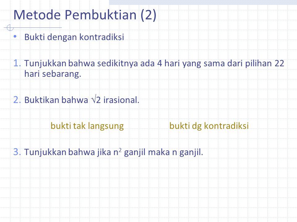 Metode Pembuktian (2) Bukti dengan kontradiksi 1.