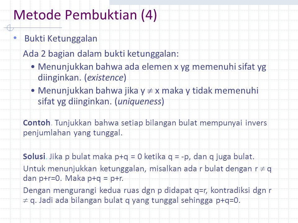 Metode Pembuktian (5) Contoh penyangkal (counter example) Tunjukkan bahwa pernyataan setiap bilangan bulat positif adalah hasil tambah dari tiga bilangan kuadrat adalah salah.