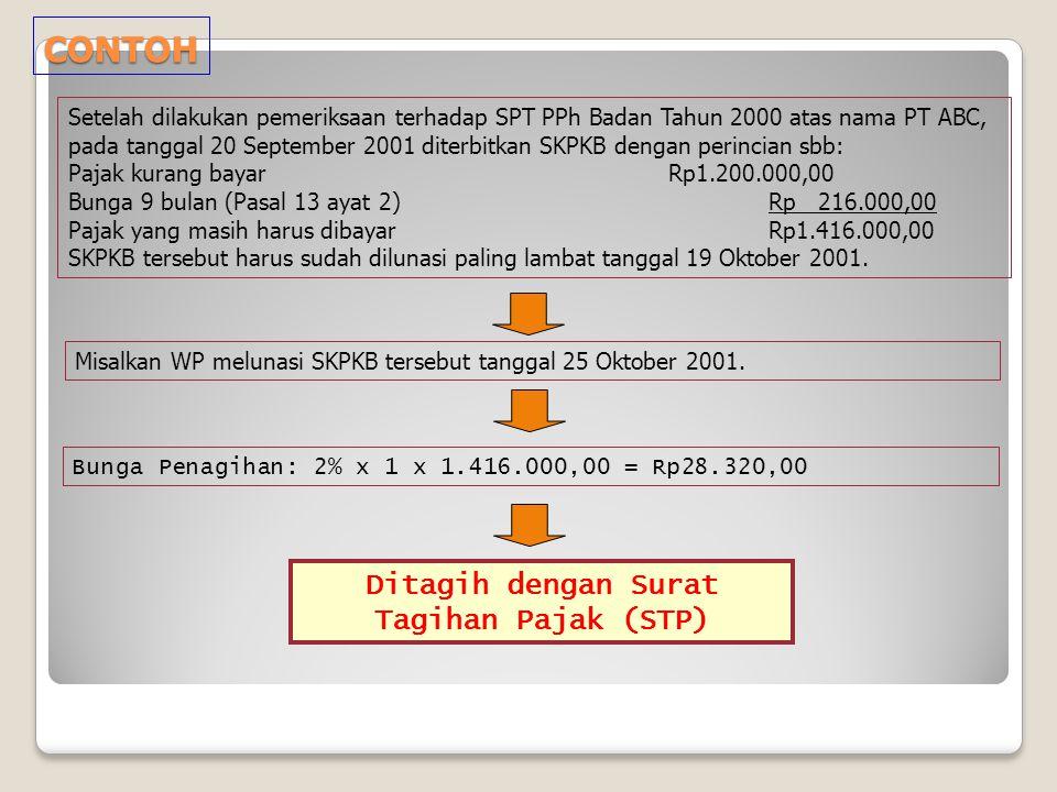 CONTOH Misalkan WP melunasi SKPKB tersebut tanggal 25 Oktober 2001. Setelah dilakukan pemeriksaan terhadap SPT PPh Badan Tahun 2000 atas nama PT ABC,