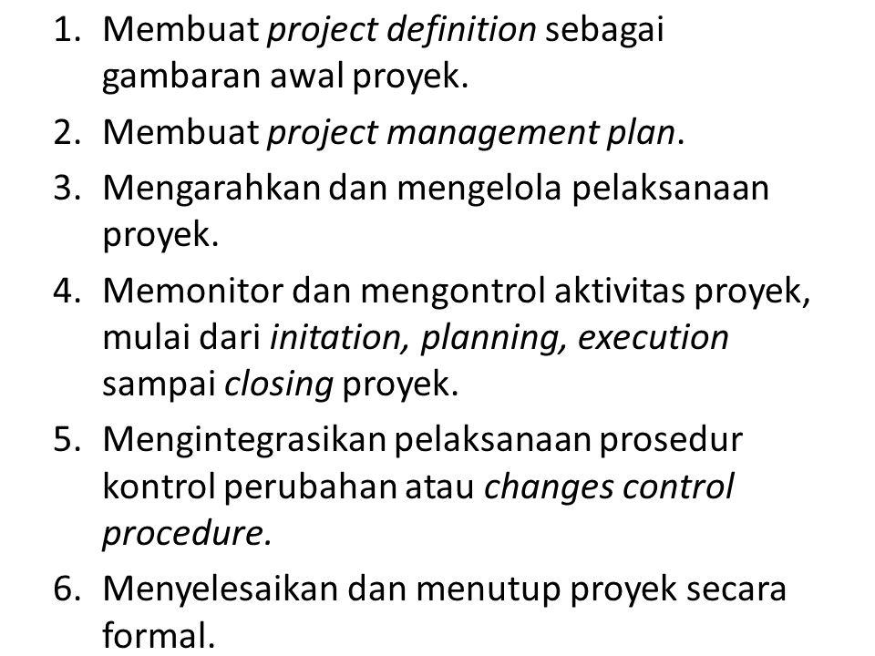 1.Membuat project definition sebagai gambaran awal proyek. 2.Membuat project management plan. 3.Mengarahkan dan mengelola pelaksanaan proyek. 4.Memoni