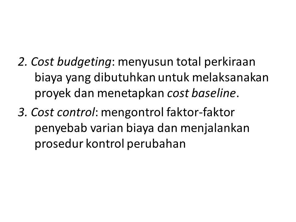 2. Cost budgeting: menyusun total perkiraan biaya yang dibutuhkan untuk melaksanakan proyek dan menetapkan cost baseline. 3. Cost control: mengontrol
