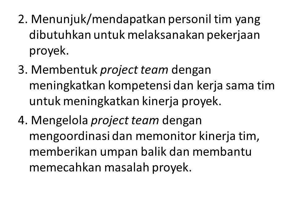 2. Menunjuk/mendapatkan personil tim yang dibutuhkan untuk melaksanakan pekerjaan proyek. 3. Membentuk project team dengan meningkatkan kompetensi dan