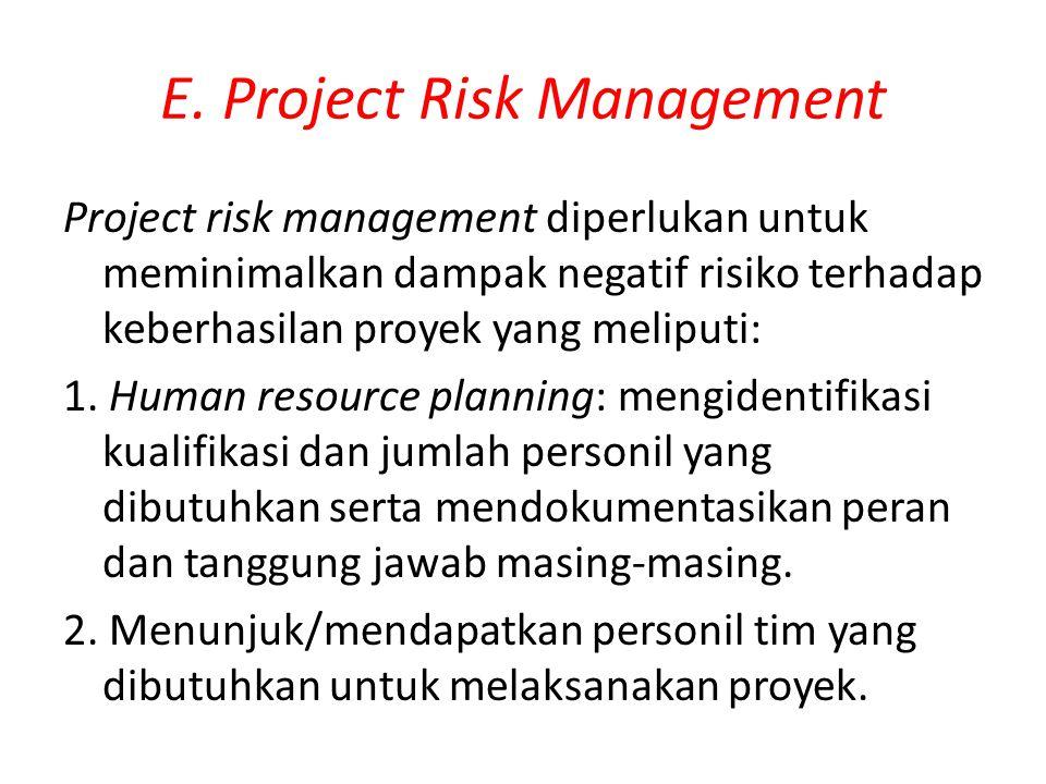 E. Project Risk Management Project risk management diperlukan untuk meminimalkan dampak negatif risiko terhadap keberhasilan proyek yang meliputi: 1.