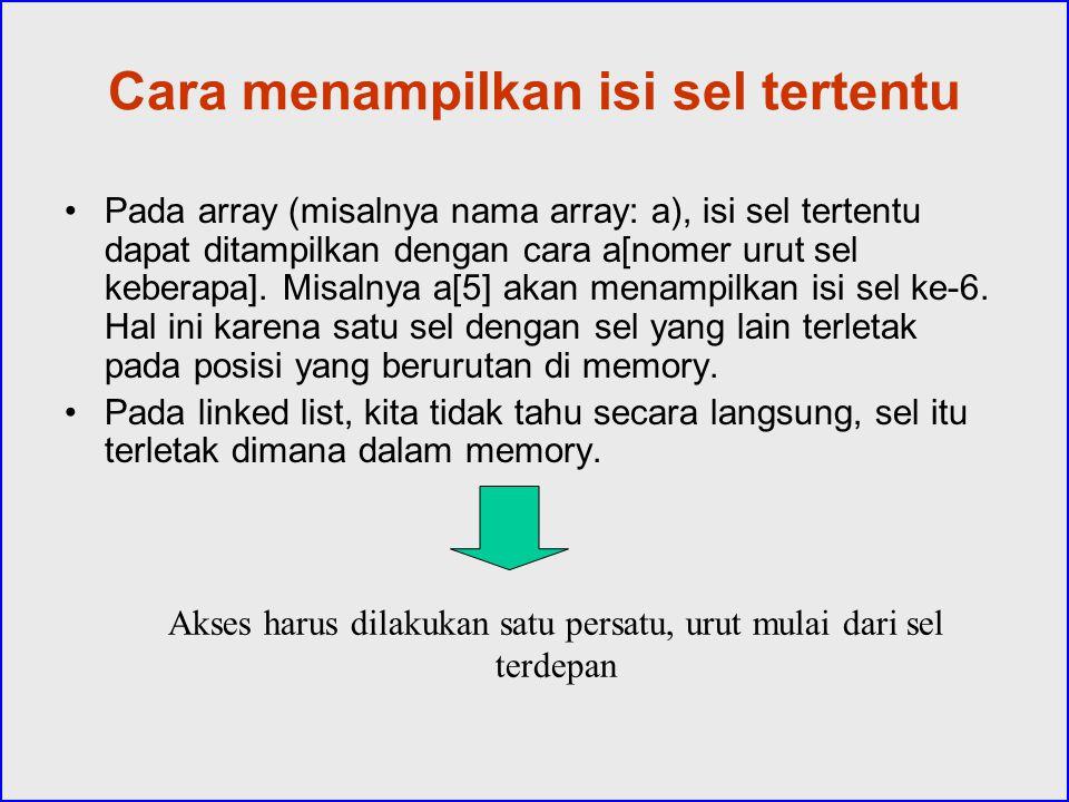 Cara menampilkan isi sel tertentu Pada array (misalnya nama array: a), isi sel tertentu dapat ditampilkan dengan cara a[nomer urut sel keberapa]. Misa