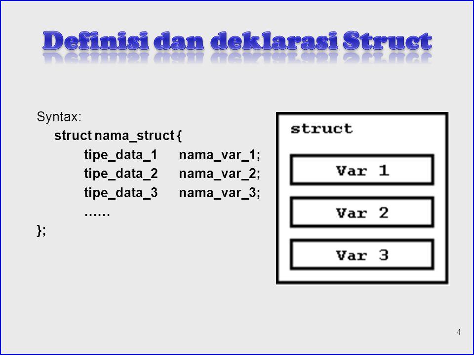 Syntax: struct nama_struct { tipe_data_1nama_var_1; tipe_data_2nama_var_2; tipe_data_3nama_var_3; …… }; 4