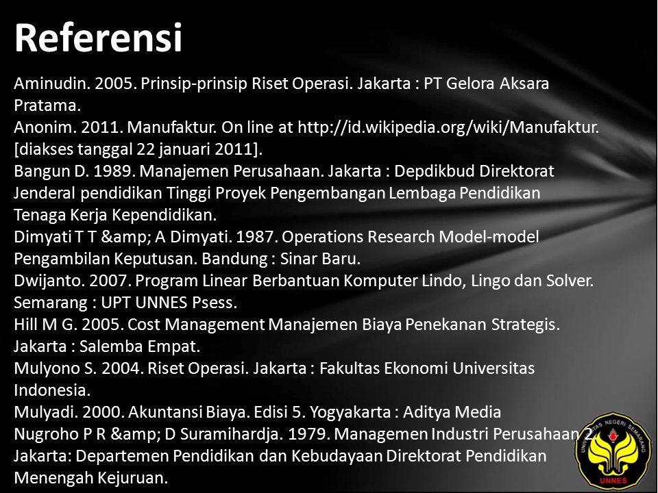 Referensi Aminudin.2005. Prinsip-prinsip Riset Operasi.